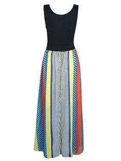 Shop Multicolor Boho Stripe Print Sleeveless Split Maxi Dress from choies.com .Free shipping Worldwide.$24.9