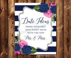 DIGITAL Pink Navy Silver Date Night Ideas by NorthwestDesignCo