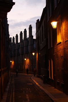 Streets of Cambridge. A beautiful street in Cambridge at dawn, By thomasheylen