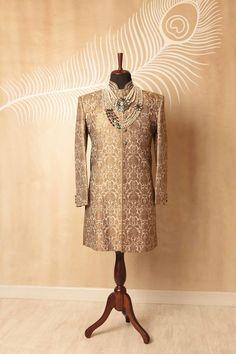 bronze sherwani , keem khwab fabric sherwani, bronze and gold sherwani , , regal sherwani , grooms outfit