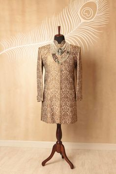 bronze sherwani , keem khwab fabric sherwani, bronze and gold sherwani , , regal…