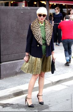 Elisa Nalin: her hair's an inspiration.. NB: leopard print looks timeless next to green and orange.. and black!