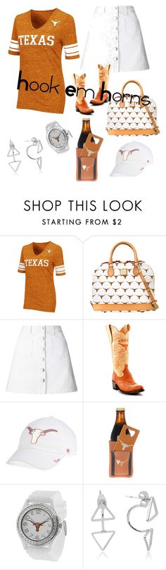 """""""Hook Em Horns"""" by boogieocg ❤ liked on Polyvore featuring Campus Heritage, Dooney & Bourke, Miss Selfridge, Gameday Boots, '47 Brand, The Memory Company and Geneva"""