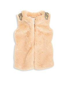Carrément Beau Girl's Embellished Faux Fur Vest - Pink