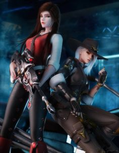 Widowmaker and Ashe by ⠀- - ~~Ignore tags~~ - Overwatch Widowmaker, Overwatch Comic, Overwatch Fan Art, Overwatch Mei, Game Character, Character Design, Overwatch Females, Overwatch Wallpapers, Arte Cyberpunk