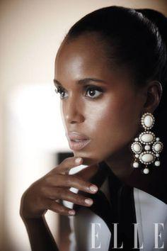 Kerry Washington in bright white Oscar de la Renta earrings