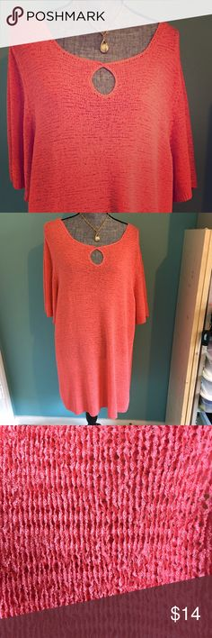 """Coral Stretchy Tunic Top or Coverup Plus 26/28 Super-stretchy Top can also be used as a bathing suit coverup. Bust 27.5"""" across armpit to armpit. Length 33"""" in back. Slits on sides White Stag Tops Tunics"""