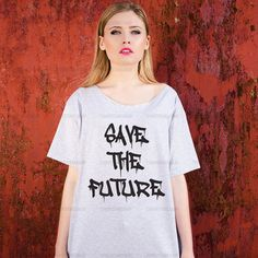 Oversize Off Shoulder T-shirt - Save the Future - Fashion Trendy Hipster Tshirt with a wide cut neck - Street Style Tee