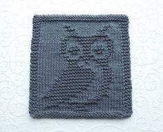 OWL Knit Dishcloth or Wash Cloth Owl Lover Gift Dark Gray