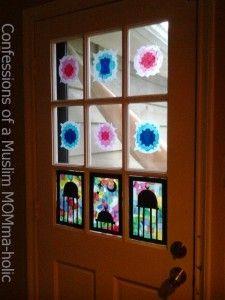 Ramadan Decorations: More Tissue Paper Stained Glass Islam For Kids, Ramadan Mubarak, Ramadan Decorations, Lessons For Kids, Tissue Paper, Eid, Stained Glass, Homeschool, Decorating