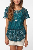 Pins and Needles Lace Peplum Top  #UrbanOutfitters