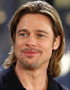 Brad Pitt! Male actor, celeb, beard, long hair style, steaming hot, powerful face, intense eyes, sexy, portrait, photo