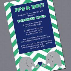 Chevron Baby Shower Invite for Boys