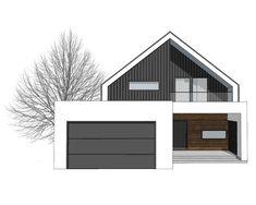 DOM.PL™ - Projekt domu NA FX-24 CE - DOM NA1-46 - gotowy koszt budowy Modern Family House, Modern Barn House, Modern House Facades, Barn House Plans, Modern Architecture House, Chinese Architecture, Futuristic Architecture, Minimalist House Design, Small House Design