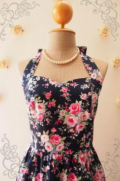 Floral Summer Dress Sweet Vintage Floral Dress Navy by Amordress