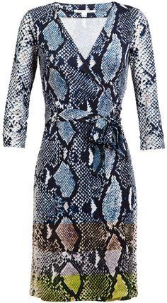 Diane Von Furstenberg Multicolor New Julian Python Printed Silk Jersey Wrap Dress