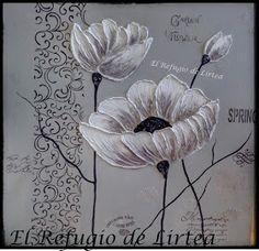El Refugio de Lirtea: CUADRO CON FLORES EN RELIEVE Diy Angel Wings, Diy Angels, Painting Techniques, Art Pictures, Dandelion, Art Drawings, Palette, Plants, Frame