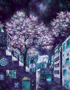 anime girl with cherry blossoms at night