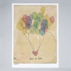 sweet william: new illustration - 'love is free' Art Amour, Love Is Free, Oeuvre D'art, Love Art, Watercolor Art, Simple Watercolor, Illustration Art, Balloon Illustration, Artsy