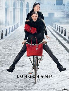 Biking Buddies | Coco Rocha & Emily DiDonato | Max Vadukul #photography | Longchamp Fall 2012 Campaign