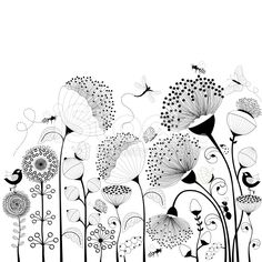 Card with black and white flowers Schwarze und weiße Blumen Lizenzfreies vektor illustration The post Card with black and white flowers appeared first on Ideas Flowers. Doodle Drawings, Doodle Art, Black And White Flowers, Black And White Drawing, Clipart Black And White, Black White Art, Watercolor Horse, Illustration Blume, Flower Doodles