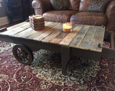 Cart coffee table Coffee table Industrial coffee table Rustic coffee table t Coffee Table With Casters, Cart Coffee Table, Coffee And End Tables, Rustic Coffee Tables, Wood End Tables, Wood Table, Rustic Table, Industrial Style Coffee Table, Rustic Industrial