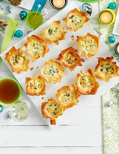 Impressive but easy, these delicate filo pies with parmesan, pancetta and spring onions make the perfect drinks party canapés. Wedding Canapes, Party Canapes, Party Appetizers, Mini Muffins, Pastry Recipes, Pie Recipes, Recipies, Antipasto, Bruschetta