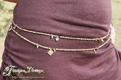 BRASS BELLY CHAIN - Tribal Belly Dance Costume Pixie Hippie Faery- Bead Necklace - Bracelet
