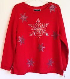Karen Scott Red Snowflake Sequin Sweatshirt Top Holiday Winter Petite Large PL #KarenScott #Sweatshirt #Casual