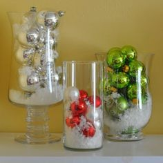 """One Christmas I used several large vases & filled them with """"snow"""" & colorful ornaments. So pretty!"""