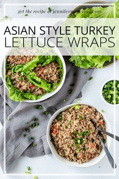 Slow cooked ground turkey in a blend of Asian inspired spices then piled high in a wrap of lettuce. Wine Recipes, Cooking Recipes, Main Dishes, Side Dishes, Turkey Lettuce Wraps, Star Food, Ground Turkey, Asian Style, Fried Rice