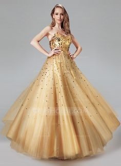 A-Line/Princess Sweetheart Floor-Length Tulle Prom Dress With Sequins (018004807) - JJsHouse