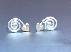 Vintage USA Modernist ED LEVIN Sterling Silver EARRINGS signed 14k Gold HEART #eBayDanna