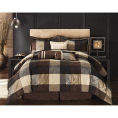 Elliot 8-Piece Comforter Set, Black and Brown