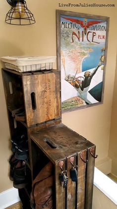 I created a cool vintage-looking shoe and boot rack to tame the chaos in my entryway out of unfinished wooden crates. It was easy! I stained 6 basic unfinished…