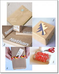 Christmas Wrapping Ideas - Brown Paper - spinnering