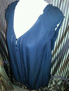White House Black Market Ladies Silk Blouse Top  Black Cap Sleeve. SZ XL #WhiteHouseBlackMarket #Blouse #Career