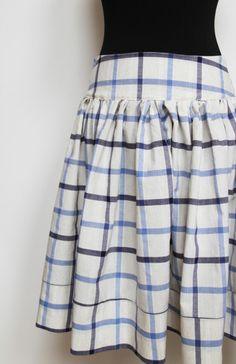 Kostkovaná kolová sukně z bavlněného plátna / Skirt