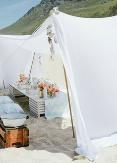 tent feel with white sheets