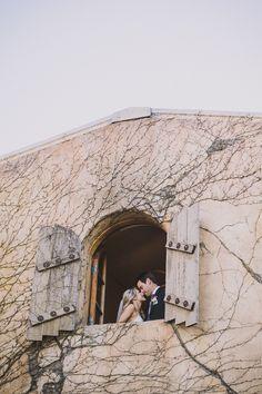 bride and groom captured from below #weddingideas #weddingphotography #weddingchicks http://www.weddingchicks.com/2014/02/21/classic-pink-and-gold-wedding/