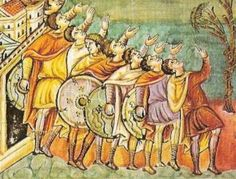 Carolingian warriors holding circular shields with small centre grips. Viking Shield, Viking Age, Medieval Shields, High Middle Ages, Carolingian, Weapon, Vikings, Scandinavian, Battle