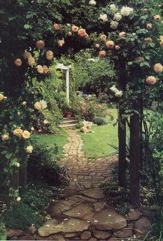 Rose arbor and path