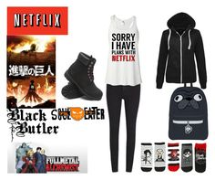 """""""What I watch on Netflix"""" by hannahcannon97 ❤ liked on Polyvore featuring Timberland and Cheap Monday"""