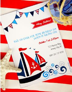 Nautical, sailboat and Maritime birthday party supplies and printables