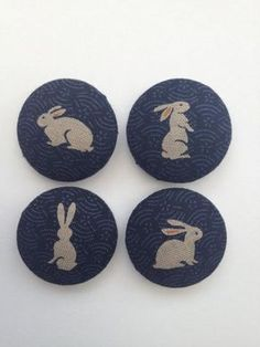 Rabbits Fabric Covered Buttons. £6.00, via Etsy.