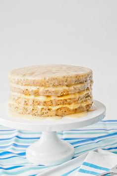 Yummy And Delicious Poppyseed Cake with Passion-fruit Curd #cake #dessert #recipe