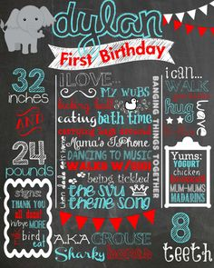 Custom First Birthday Colored Chalkboard Poster/ Invitation - Birthday Sign - Boy -Elephant - Blue/White/ Red