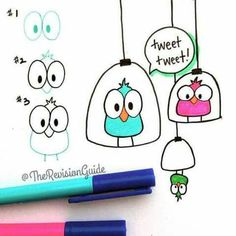 Cute bird doodles anyone can draw! Doodle Drawings, Easy Drawings, Doodle Art, Bird Doodle, Doodle Lettering, Hand Lettering, Banners Bullet Journal, Note Doodles, Sketch Notes