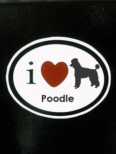 I heart love my Poodle dog magnet for car or by KennedyBoutique, $5.95