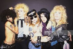 Slash, Duff McKagan, Axl Rose, Izzy Stradlin and Steven Adler of the rock group 'Guns n' Roses' pose for a portrait in October 1985 in Los Angeles, California.